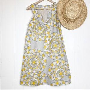 Loft linen sundress in cream, grey & yellow floral